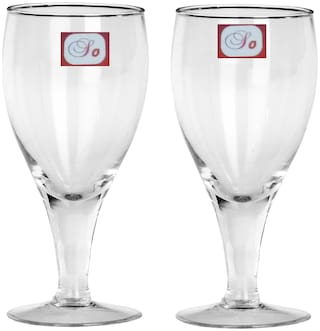 Somil Baverage Tumbler Multi Purpose Wine Glass Transparent & Self Designer Set Of 2 Stylish Glass-WI21