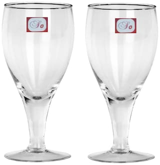 Somil Bavrage Tumbler Multi Purpose Wine Glass Transparet & Self Designer Set Of 2 Stylish Glass -WI25