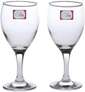 Somil Baverage Tumbler Multi Purpose Wine Glass Transparent & Self Designer Set Of 2 Stylish Glass-WI22