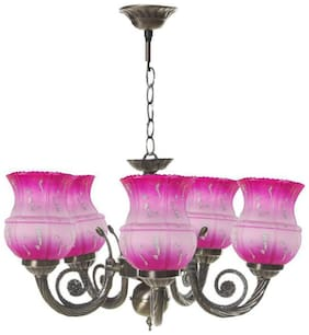 Somil Chandeliers Of Five Light With Decorative Glass shade In Metal Fitting  Lighting