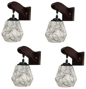 Somil Decorative Stylish Colorful Sconce Wall Lamp And  Light With Quality Wooden Fitting And Hand Decorative Glass Shade -Set of 4