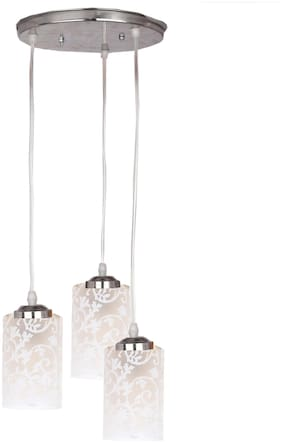 Somil Designer Pendant Hanging Ceiling Lamp With Three Hanging Decorative Glass And All Fitting And Fixture (Bulbe Not Include) No xc9