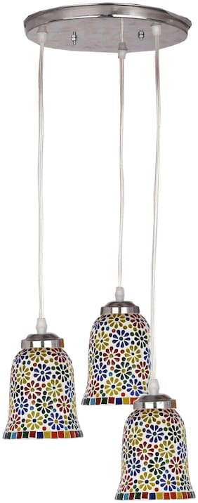 Somil Designer Pendant Hanging Ceiling Lamp With Three Hanging Decorative Glass With All Fitting And Fixture