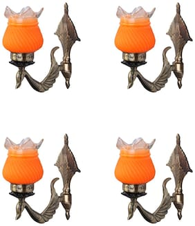 Somil Designer Peacock Shape Sconce Wall Lamp Light With Metal Fitting And Hand Decorative Glass Shade (Set Of 4)