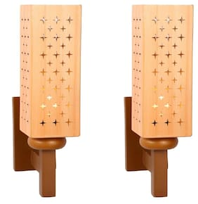Somil Designer Wooden Wall Lamp (Set Of 2)- AA32