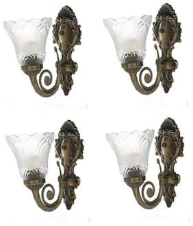 Somil Designer Decorative Sconce Glass Wall Lamp Light(Set Of Four), Glass, Metal, Compatible With 5 To 60 W LED & Other Bulb