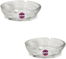 Somil Designer And Decorative Glass Ash Tray;Stains And Spots Free For Bar And Home;Set Of 2;Round