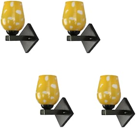 Somil Fancy Designed Decorative LED Wall Lamp/ Light;7 Watt;Glass;Yellow;Wood (Set Of Four)