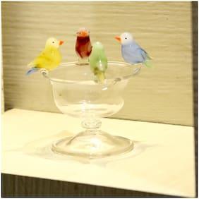 Somil Four Thirsty Birds On A Bowl Decorative Showpiece
