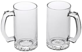 Somil Glass Multipurpose Beer Mug With Handle Set Of 2
