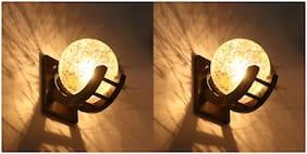 Somil Globe Shape Wood And Glass Wall Lamp ( Set Of 2 )
