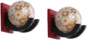 Somil Colorful Globe Shape Wood And Glass Wall Lamp, Compatible 5 To 80 Watt, B22 Holder ( Set Of 2)