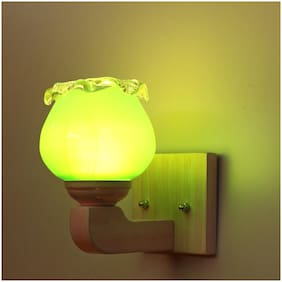 Somil Led Sconce Glass Wall Lamp/Light With Sweet Pink Wood Fitting;7 Watt;With All Fixture