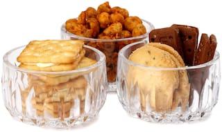Somil Multi-Purpose Tableware Snack/ Veritable Serving Bowl Set Of 3;Glass;Transparent