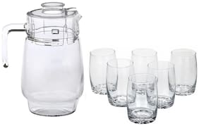 Somil New Designer Drinking Set Of One Jar With Lid & Six Glass Transparent & Clear-JG45