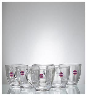 Somil New Design & Style Transparent Glass Tea/ Coffee Serving cup ( Set Of Six )