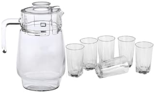 Somil New Designer Drinking Set Of One Jar With Lid & Six Glass Transparent & Clear-JG58