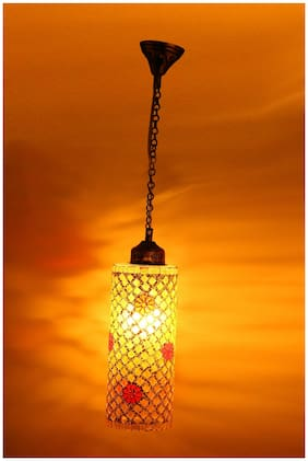 Somil New Launch Decorative Colorful Mozac Pendant Hanging Ceiling Lamp Ornamented With Colorful Chips & Beads With Magical Effects-21
