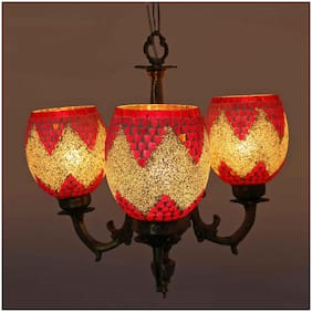 Somil New Royal Chandelier Decorate With Chips & Beeds Glass For Magical & Romantic Lighting Effect;Three Light Ceiling Pandent Lamp- K11