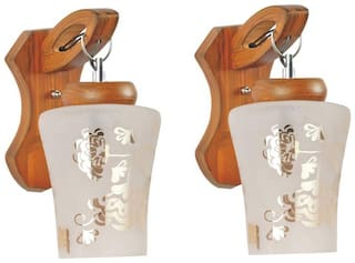 Somil New Sconce Designer Decotative Colorful Glass Wall Lamp Light With Wooden Fitting (Set Of Two) NoJDS5