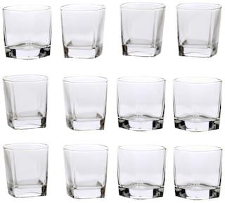 Somil New Stylish & Designer Baverage Tumbler Multipurpose Clear Glass -GL52 (Set Of 12)