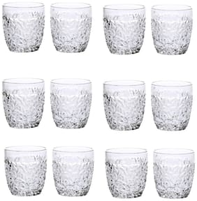 Somil New Stylish & Designer Baverage Tumbler Multipurpose Clear Glass -GL33 (Set Of 12)