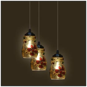 Somil Decorative Pendant Hanging Ceiling Light Of Three Lamp, Compatible With 7 To 80 Watt LED & Other