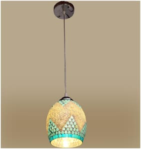 Somil Pendant Glass Ceiling Lamp Light Hand Decorative With Chips & Beads For Colorful & Magical Lighting Effect -tp2