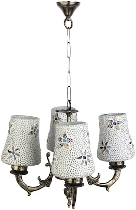 Somil Pendent Ceiling Chandeliers Jhoomer Of 4 Lamp With Decorative Glass Shade