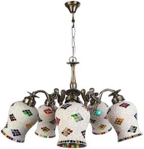 Somil Pendent Ceiling Chandeliers Jhoomer Of 5 Lamp;Light With Decorative Glass Shade