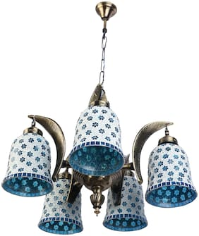 Somil Pendent Ceiling Chandeliers Jhoomer Of 5 Lamp With Decorative Glass Shade