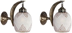 Somil Pendent wall Lamp;Light Of Leaf Design Metal wall Fitting & Hand Decorative Colorful Glass Shade ( Set Of 2)