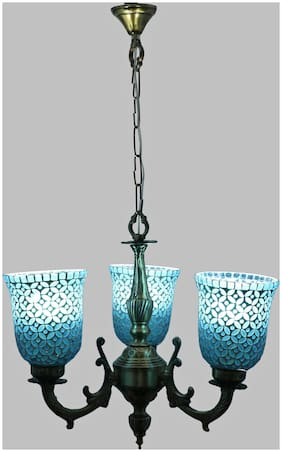 Somil Royal Chandelier Decorate With Chips & BeedsGlass For Magical & Romantic Lighting Effect;3Light Ceiling Pandent Lamp- KJ7