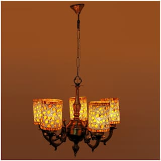 Somil Royal Chandelier Decorate With Chips & BeedsGlass For Magical & Romantic Lighting Effect;5 Light Ceiling Pandent Lamp- K12