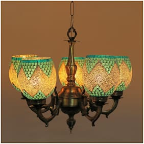 Somil Royal Chandelier Decorate With Chips & BeedsGlass For Magical & Romantic Lighting Effect;5 Light Ceiling Pandent Lamp- K9