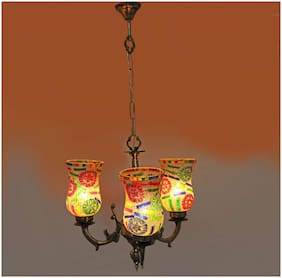 Somil Royal Chandelier Decorate With Chips & Beeds Glass For Magical & Romantic Lighting Effect;Three Light Ceiling Pandent Lamp- K1Three