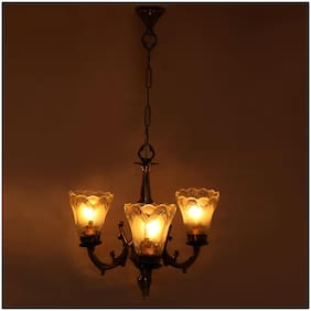 Somil Royal Chandelier Decorate With Chips & BeedsGlass For Magical & Romantic Lighting Effect;3Light Ceiling Pandent Lamp- KJ9