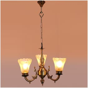 Somil New Royal Chandelier Transparent Glass Shade For Magical & Romantic Lighting Effect;Three Light Ceiling Pandent Lamp