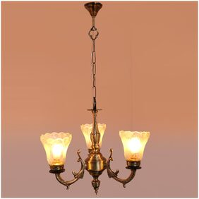 Somil Royal Chandelier Decorate With Chips & Beeds Glass For Magical & Romantic Lighting Effect;Three Light Ceiling Pandent Lamp- K2Three