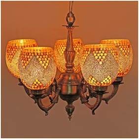 Somil Royal Chandelier Decorate With Chips & BeedsGlass For Magical & Romantic Lighting Effect;5 Light Ceiling Pandent Lamp- K8