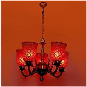 Somil Royal Chandelier Decorate With Chips & BeedsGlass For Magical & Romantic Lighting Effect;5 Light Ceiling Pandent Lamp- K6