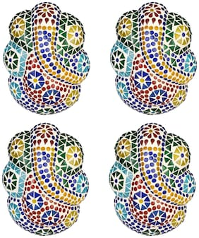 Somil Sanctified Ganesha Spritual Wall Lamp Ornamented With Colorful Beads And Chips ZD35 (Set Of 4)