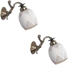 Somil Sconce Wall Lamp Light With Fairy Fitting And Decorated Colorful Shade;Metal;Glass-Set of 2