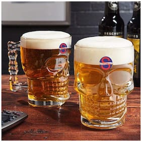Somil Self Designed Multipurpose Beer Mug Glass Set With Handle (Set Of 2 )