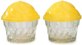 Somil 225 ml Transparent & Yellow Glass Container Set - Set of 2