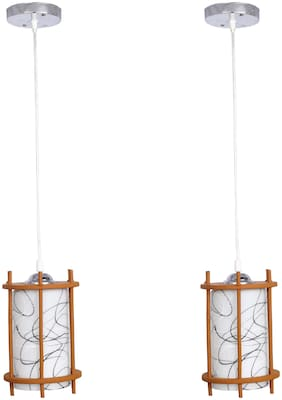 Somil styles Pendant Hanging Ceiling Lamp Light With styles Wooden Box & All Fitting (Set Of Two) -Wd40