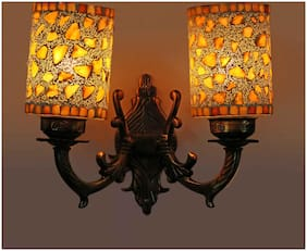 Somil Stylish Twins Wall Lamp Light With Hand Decorative Colorful Glass & Royal Metal Fitting for Colorful Magical Light Effoct D22