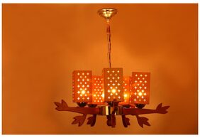 Somil Unique Design Wooden Chandelier With Engraved Colorful Wooden Lamp A9