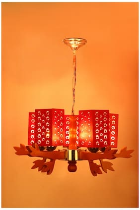 Somil Unique Design Wooden Chandelier With Engraved Colorful Wooden Lamp A8