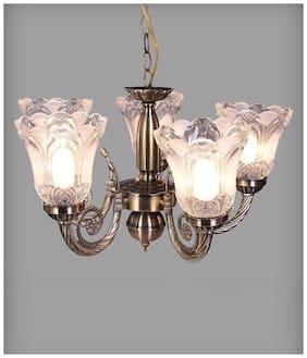 Somil Designer Metal Chandelier With Engraved Transparent Glass Lamps Chandelier Ceiling Light [ Set of 1]